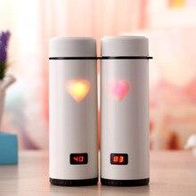 Edelstahl Led-temperaturanzeige Liebe Thermosbecher Isolierte Vakuumflasche Thermische Flasche Gerade Tasse Paar Geschenk