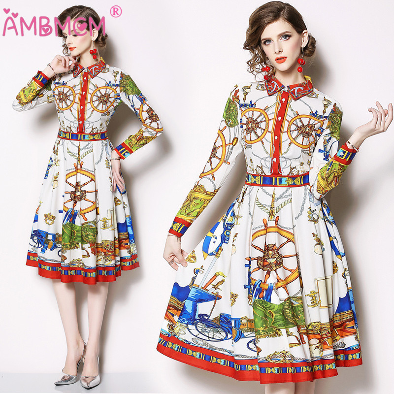 AMBMCM 2019 Spring Full Sleeve Empire A Line Fashion Women Dress High Quality Colorful Blue Yellow Floral Printed Design Dress