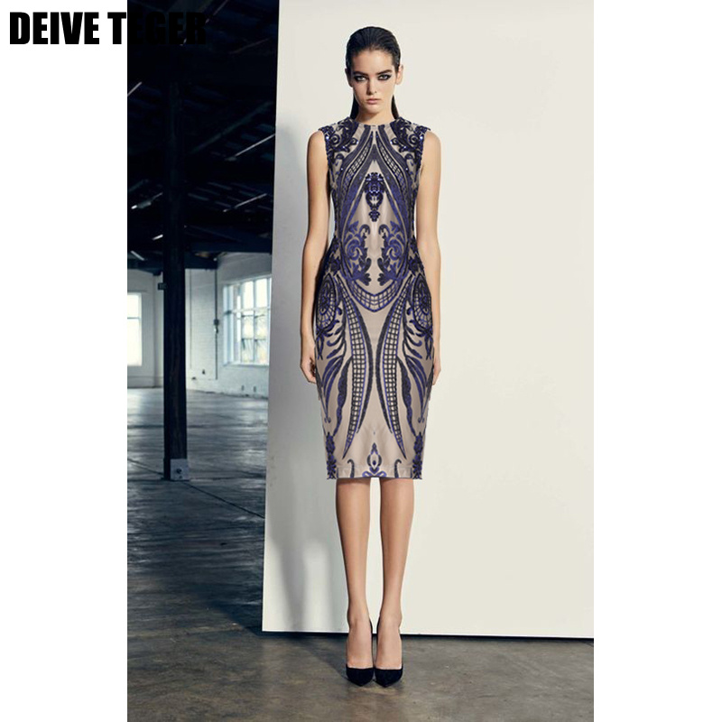 DEIVE TEGER  geometric sequin motif  Fashion Elegant Bandage dress Vestidos Women pencil  Dress HL3094