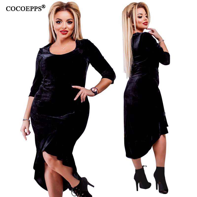 e7ba413e6dd56 5xl 6xl 2018 new arrivals velvet women dress big sizes maxi summer dress  plus size n-neck Ruffles Irregular women sexy clothing