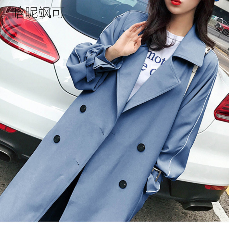 Plus Size   Trench   Coat for Women New Spring Double Breasted   Trench   Coat Long Overcoat Windbreaker Elegant Outwear with Sashes