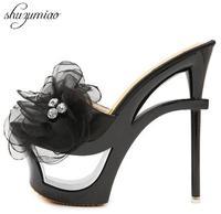 غريبة الكعوب المنصات 2017 الجديدة النساء الأحذية الصنادل و النعال الأزرق الحرير الشيفون الزهور الماس للماء محة الأحذية