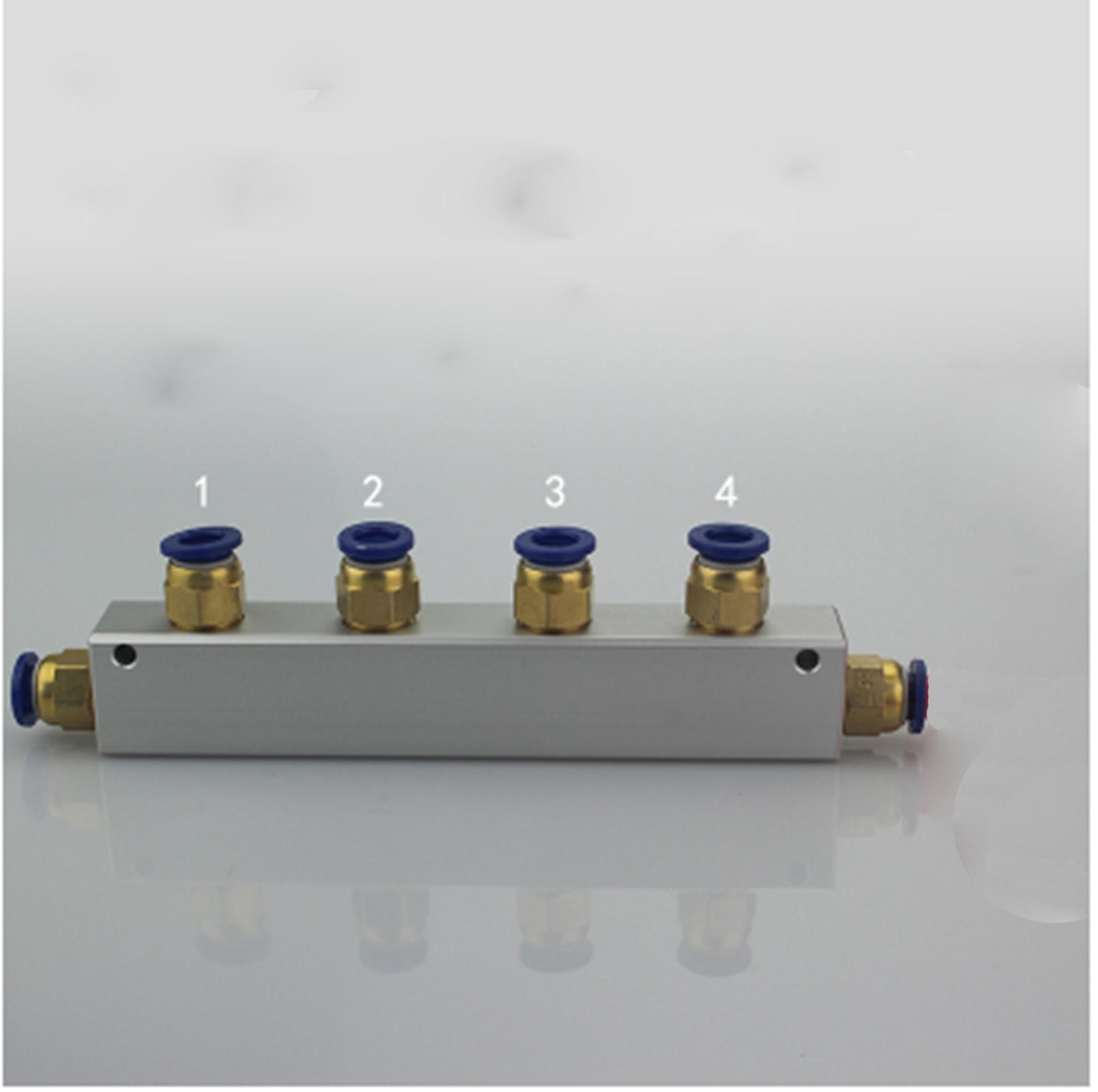 Hot Sale A Kit Push Fit 8mm 4 Way Pneumatic Air Manifold Block Toslink Optical Switch Splitter With Couplers