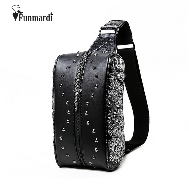 HOT SALE 3D Dragon design Waist Packs fashion Rivet  Chest bag PU leather man bag vintage good quality leather bag WLHB1451