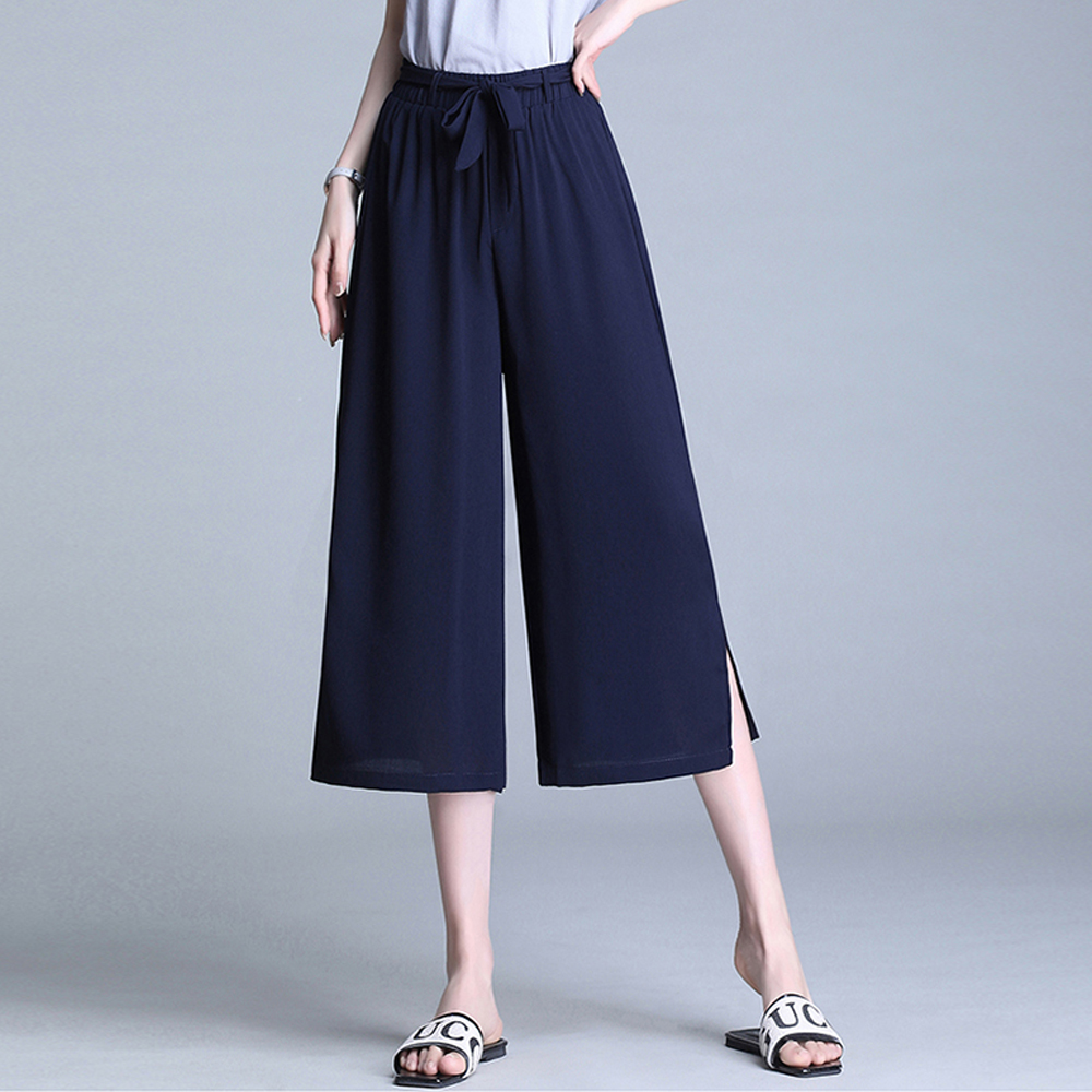 New Summer   Pants   Women Solid Color Split Wide Leg   Pants   High Waist Loose Chiffon   Pants     Capris   Calf Length Fashion Casual   Pants