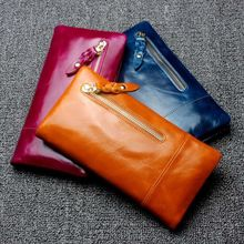 Shine Cowhide Oil Genuine Leather Women Capacity Long Clutch Purse Wallet With Credit Card Slot Case Coin Pocket Bag For Womans
