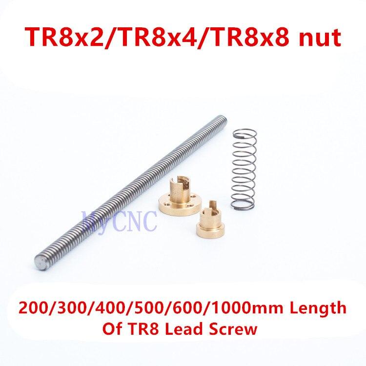 Funssor 1000mm length TR8 lead screw TR8 Spring Loaded Anti Backlash Nut Elimination Gap Nut for