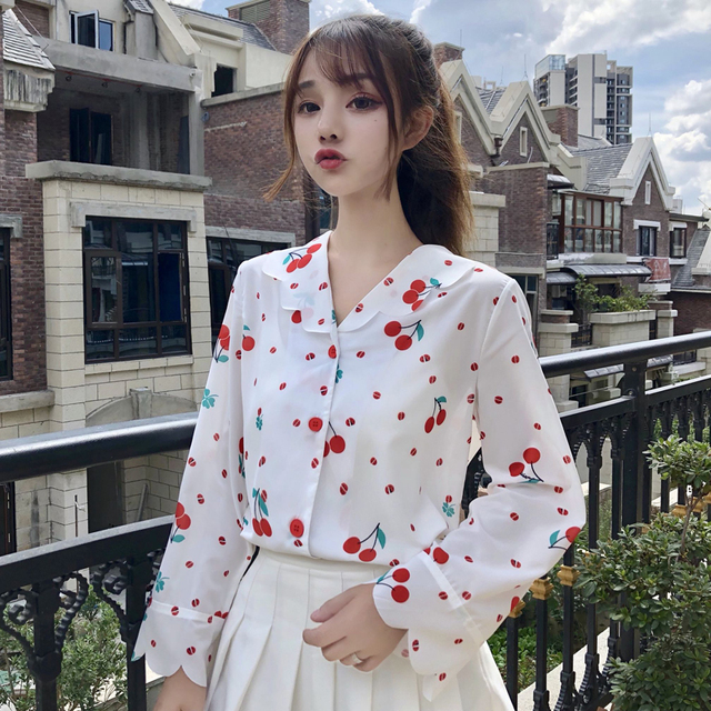 7fb77920337cc5 Korean New Fashion White Shirts for Womens Doll Collar Lovely Cherry Dot  Unique Female Tops Cute Button Up Girls Vintage Blouse