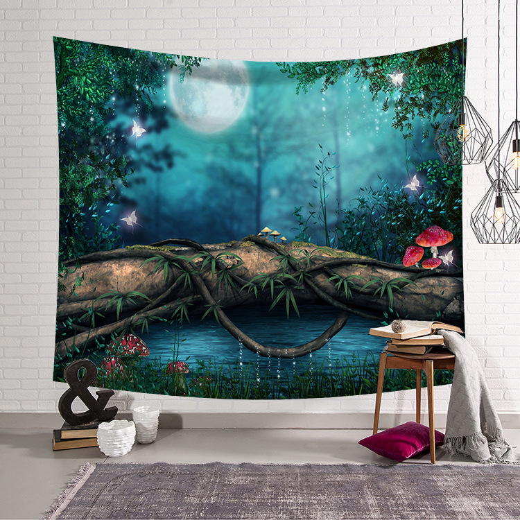 CAMMITEVER Blue Green Woods Forest Natural Scenic Tapestry Beautiful Sight Printed Wall Hanging Tree Natural Scenery Tapestry-in Tapestry from Home & Garden