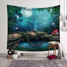 CAMMITEVER blu verde bosco foresta naturale scenica arazzo bella vista stampato appeso a parete albero scenario naturale arazzo