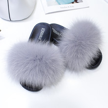 Real Fox Hair Slippers Women Fur Home Fluffy Sliders Winter Plush Furry Summer Flats Sweet Ladies Shoes Platform Shoes Female цена 2017