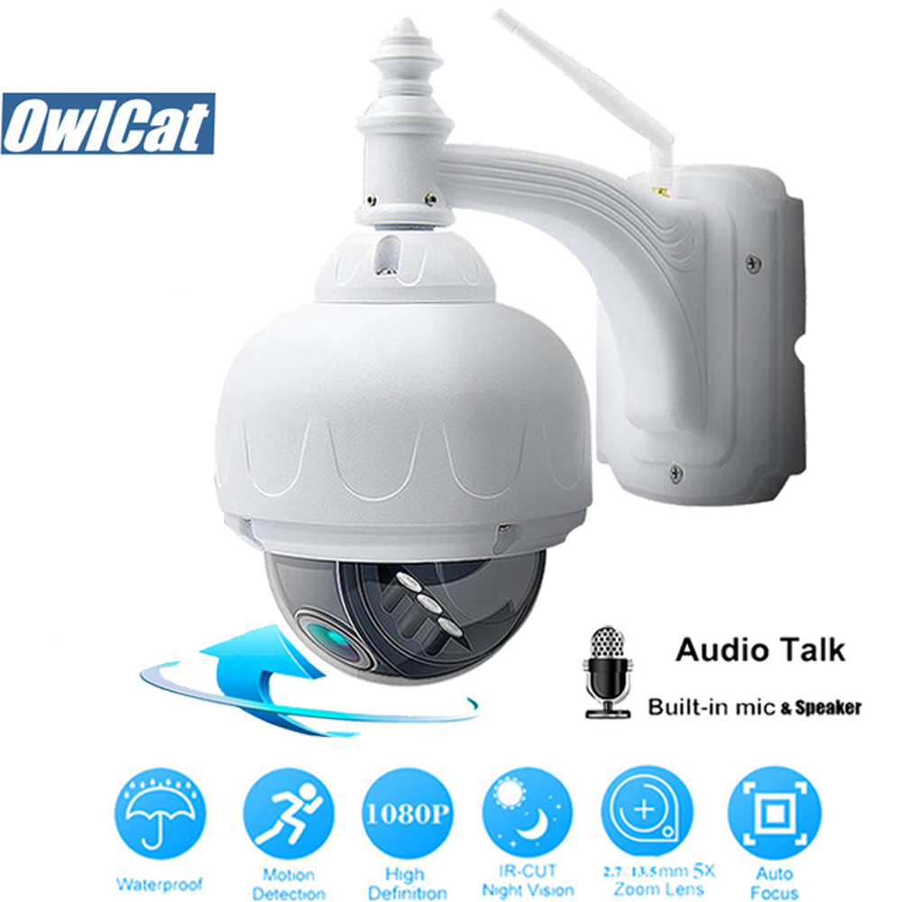 OwlCat SONY323 Outdoor/Impermeabile HD 1080 p Dome PTZ IP WIFI Della Macchina Fotografica di 2MP 5X Opticl Zoom Wireless IR CCTV a due Vie Audio slot di Memoria