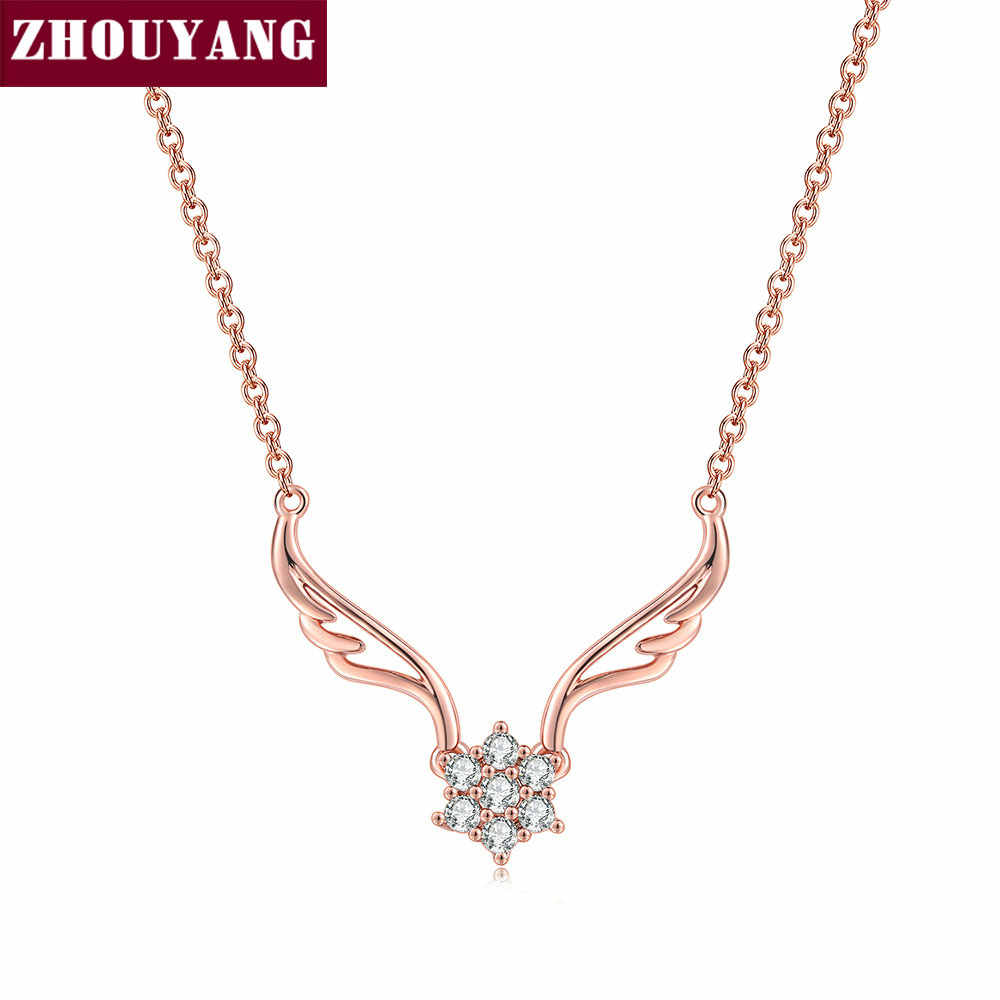 ZHOUYANG Pendant Necklace  For Women Unique Angel Wings Cubic Zirconia Rose Gold Silver Color Gift Fashion Jewelry N127 N128