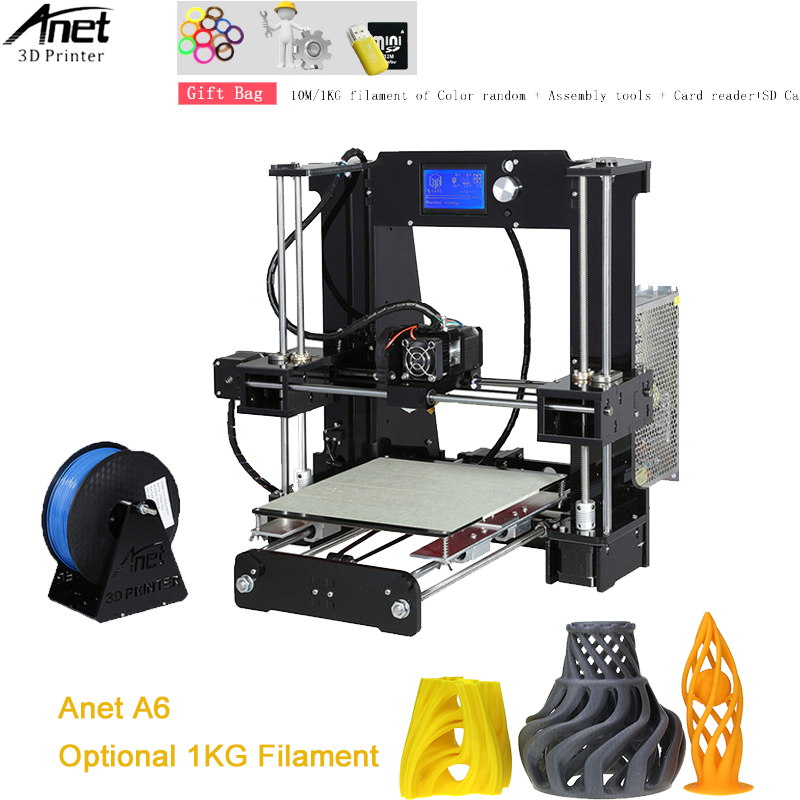 цена на Upgraded Anet Normal A6 3D Printer High Precision impresora 3d DIY Printer Machine Reprap 3D Printer Kit With Free PLA Filament