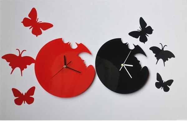 Novelty Black Red acrylic Butterfly Wall Clock 3D DIY sticker Art Design Modern Style Time Large Home Decor