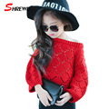 Knitted Sweater Girl 2017 Spring New Casual Solid Simple Sweater Girls Kids Long Sleeve Hollow Baby Girl Clothes 6444Z