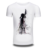 New Mens Summer T Shirt Creative A Lonely Girl Printed Casual Man S Slim Fit Short