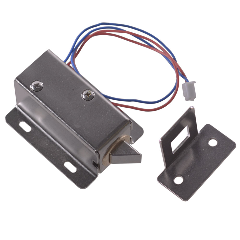 12V-24V Generic Cabinet Door Electric Lock Tongue Left Assembly Solenoid with Lock Buckle dc 24v 0 77a door lock tubular electric solenoid coil