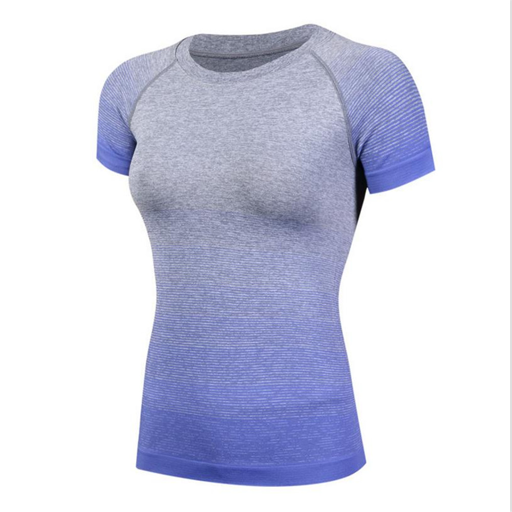 2018 New Women Quick Dry Trainning Exercise T-shirts Running Gym Shirts Breathable Sportswear Gym Fitness Tight Suit T-shirts