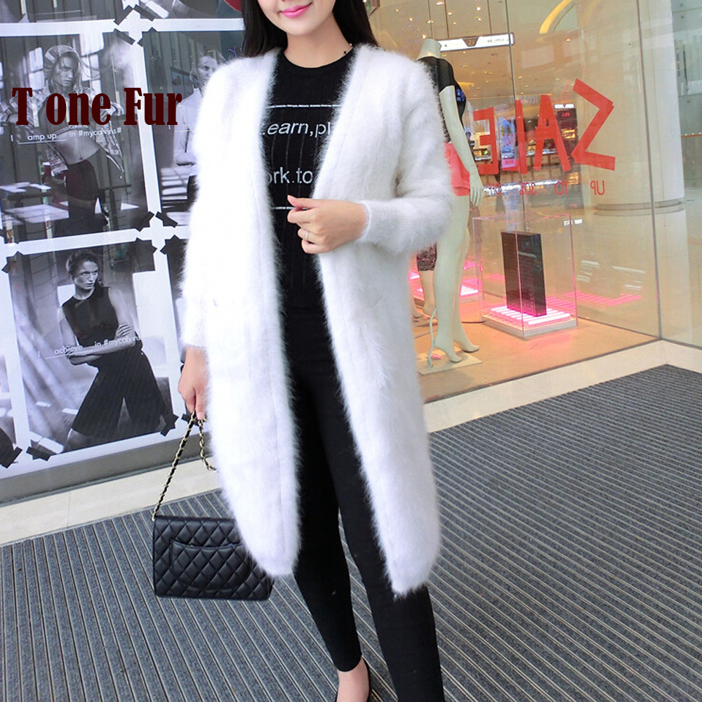 2019 New Arrival Knitted Real Mink Cashmere Long Cardigans Factory Custom OEM Natural Mink Cashmere Sweater