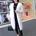 2017 Nueva Llegada Largas Rebecas de Punto de Cachemira Visón Real Personalizada de Fábrica OEM Natural Mink Suéter de Cachemira Escudo Pocket KFP942