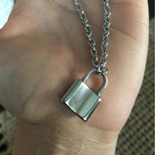 Women Jewelry Silver Color PadLock Pendant Necklace Brand New Stainless Steel Rolo Cable Chain Necklace Friendship Gifts(China)