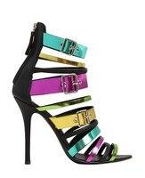Новейшая модная женская обувь низкая цена Лидер продаж Новый Дизайн Роскошные ботильоны с открытым носком Высокие каблуки красочные Радуг...
