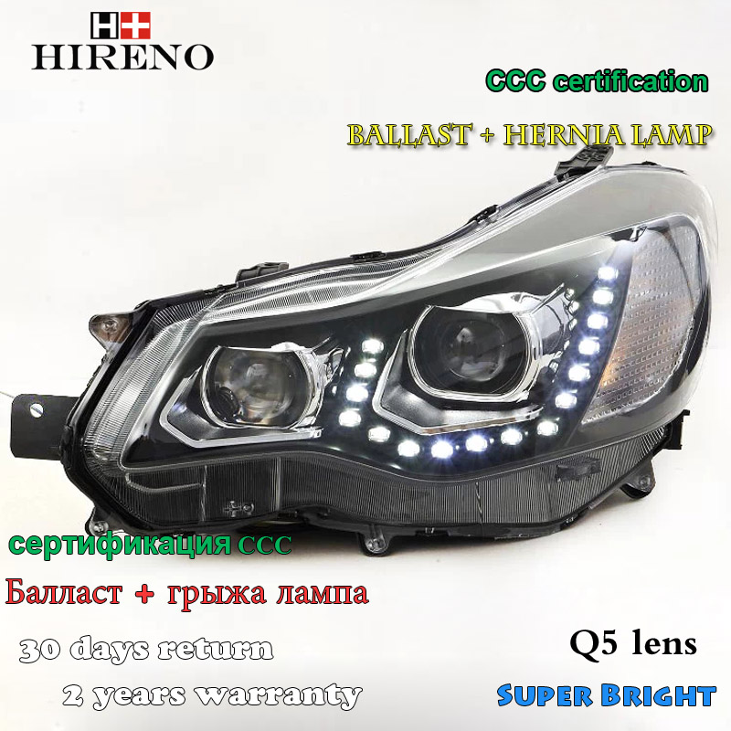 Hireno Headlamp for 2012-2014 Subaru XV Headlight Assembly LED DRL Angel Lens Double Beam HID Xenon 2pcs