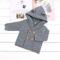 Baby Boy Knitting Cardigan Solid Color Sweaters For Girls Children Long Sleeve Hooded Coat Outwear Baby