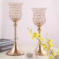 Candle Holder K9 Crystals Candle Stand Gold Plated Acrylic Wedding Candelabra/ Centerpieces Center Table Decoration Candlestick