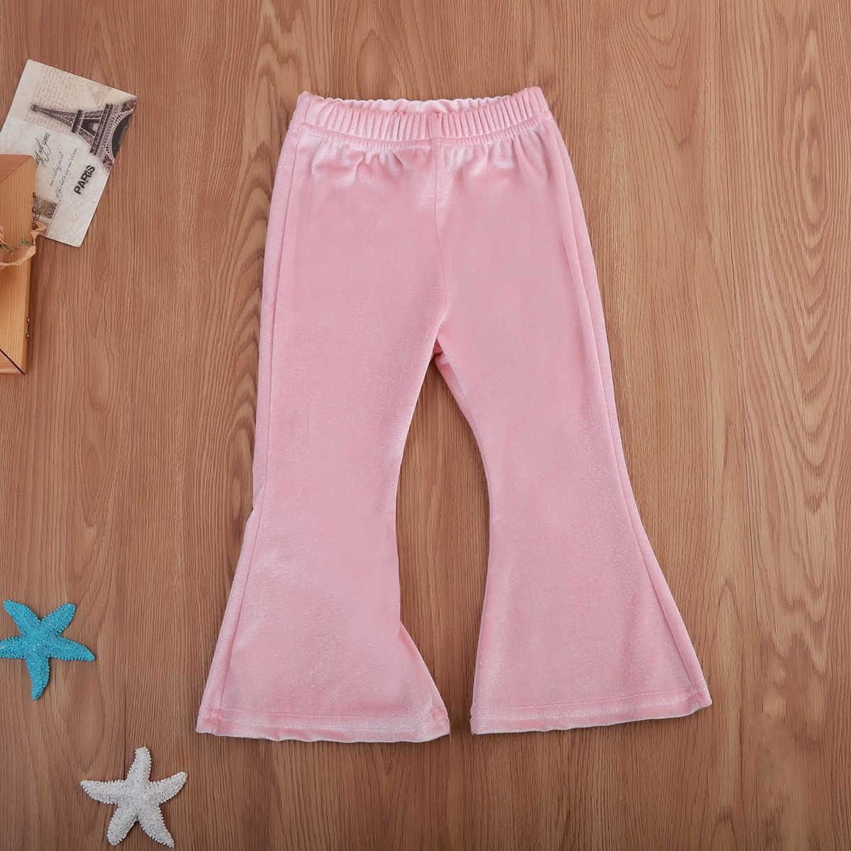 Милые длинные штаны-клеш для маленьких девочек с широкими штанинами из эластичного бархата, брюки-клеш