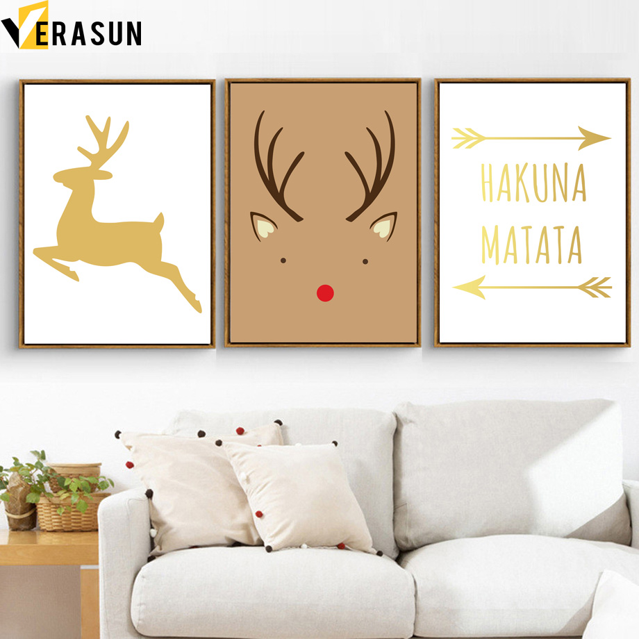 Cartoon Arrow Deer HAKUNA MATATA Animal Wall Art Canvas ...