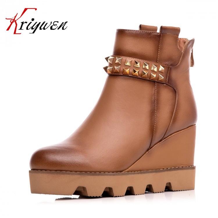 Winter 2015 New fashion women rivet punk shoes Genuine leather Retro high heels Platform lady martin boots Wedges Ankle boots women martin boots 2017 autumn winter punk style shoes female genuine leather rivet retro black buckle motorcycle ankle booties