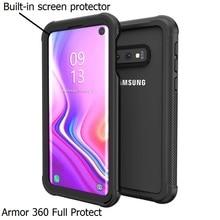 שריון 360 מלא להגן עבור Samsung Galaxy S10 Fundas S8 S9 בתוספת S10 לייט Note10 מקרה כיסוי שקוף PC + TPU + הסיליקון עמיד הלם