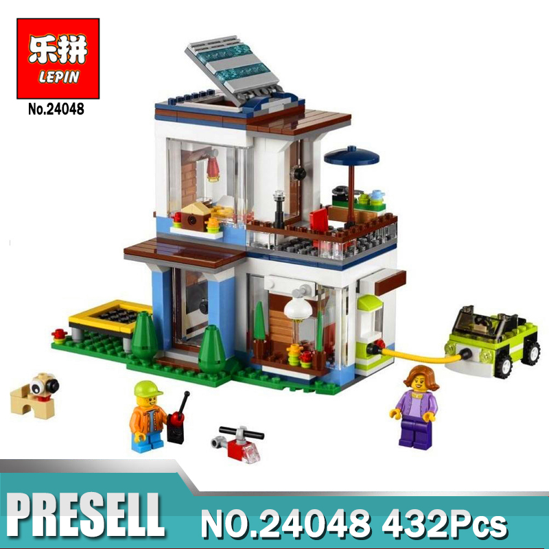 Lepin 24048 Creative Bricks Toys 432Pcs Modular Modern Home 31068 Building Blocks Kits Funny Kids Toys as Birthday Gifts lepin 16051 toys 1078pcs ship in a bottle legoingly 21313 sets building nano blocks bricks funny toys for kids birthday gifts