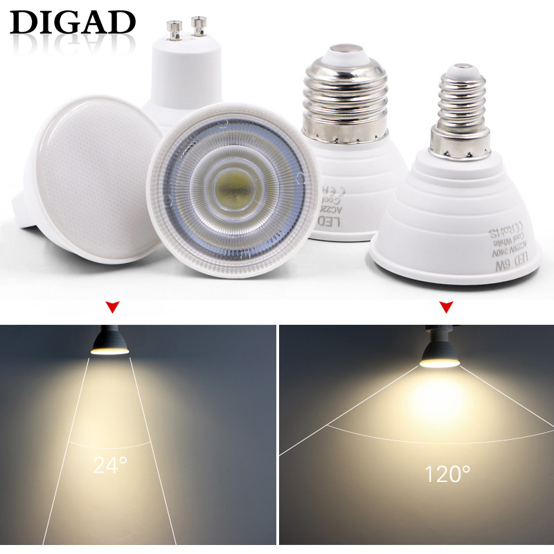 DIGAD E27 E14 MR16 GU5.3 GU10 Lampada LED Bulb 6W 220V Bombillas LED Lamp Spotlight Lampara Spot Light Led Bulb Lights For Home