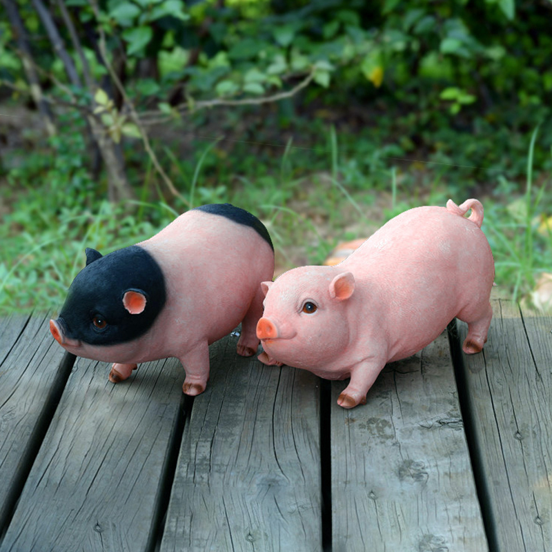 Modern cute Animal resin pigs creative miniature Figurine Craft teraryum fairy garden miniatures Mini home decor tabletop decor in Figurines Miniatures from Home Garden