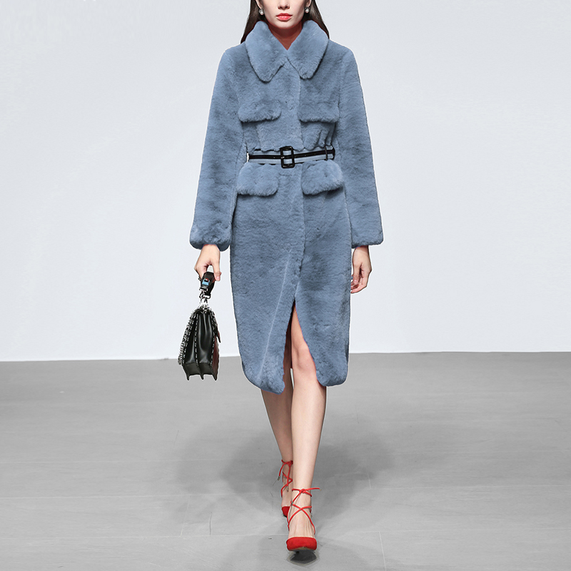 2018 New Designer Runway Autumn Winter Women's Gray Blue Imitated Fur Outwear Long Sleeve Turn-down Collar   Trench   Coat + Belt