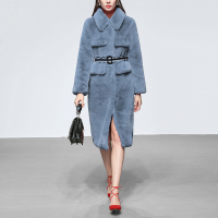2018 New Designer Runway Autumn Winter Women's Gray Blue Imitated Fur Outwear Long Sleeve Turn down Collar Trench Coat + Belt