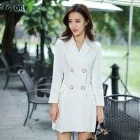 New Korean Fashion Office Blazer Dress Women Notched Collar Pleated Patchwork Black White Formal Work Career Ladies Dress