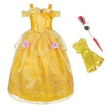 все цены на Kids Girls Belle Princess Dress up Costume Cosplay Beauty and the Beast Ball Gown Flowers Child Halloween Party Fancy Dress Girl