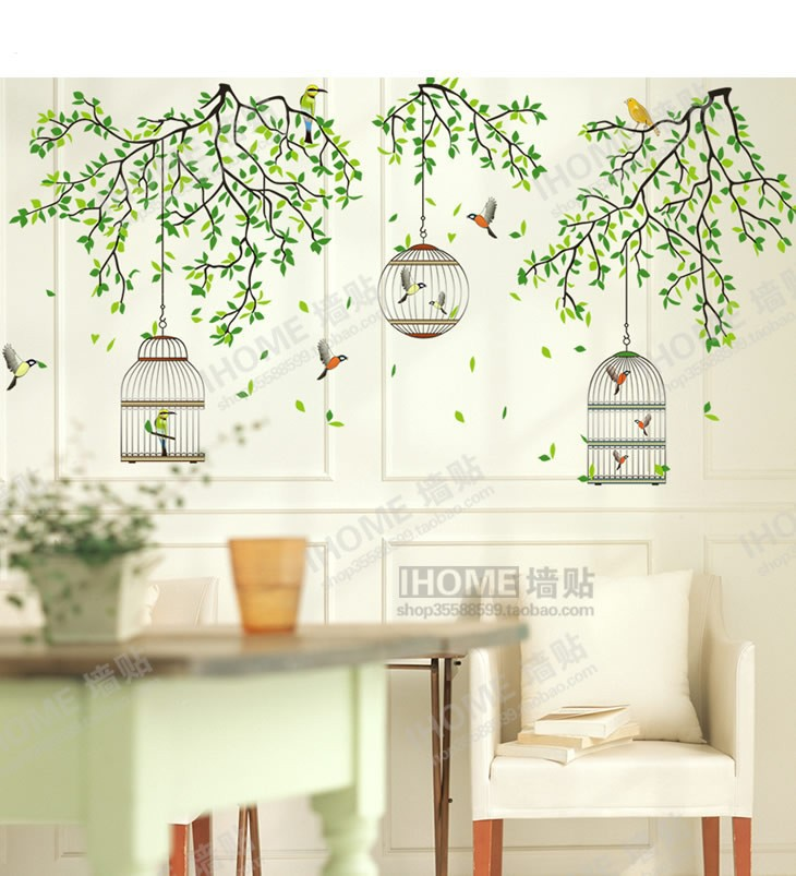Green Forest Birdcage Tree Branch Wall Stickers Living Room Bedroom