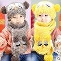 Novo inverno Tampão do Lenço Cap Gorro Infantil para Crianças Meninos Meninas Animais Estilo Urso Crianças Crochet Malha Xale V-0237