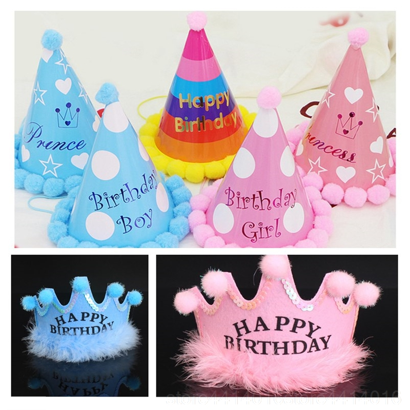3 Mini 10cm Pink Card Crown Party HatsKids Birthday Party Hats