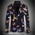 Traje de Otoño e Invierno de lujo de Moda Impresión de la Mariposa Vestido de La Manera de Los Hombres Traje Delgado Chaquetas de Colores
