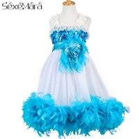 Sexemara элегантность для платье для девочек принцессы для девочек День рождения Свадебная детская одежда платья приятно удивлены костюм Диза...