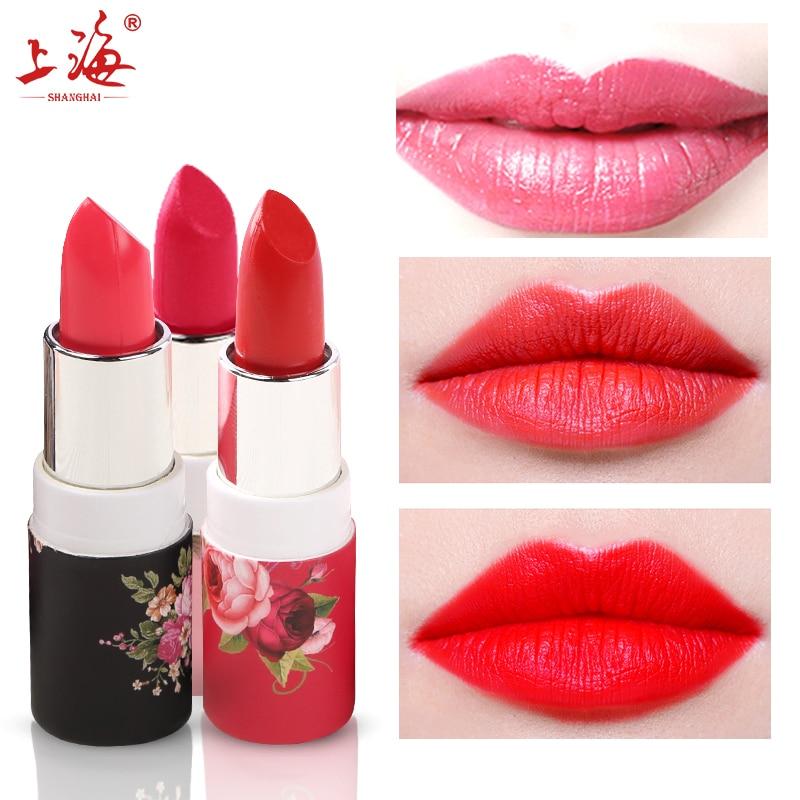 SHANGHAI BEAUTY Matte Lipstick Velvet High Quality Waterproof Lasting Moisture Beauty Lipsticks Cosmetic Lips Makeup fashion tutu 23 beauty moisture lipstick pink 3 8g