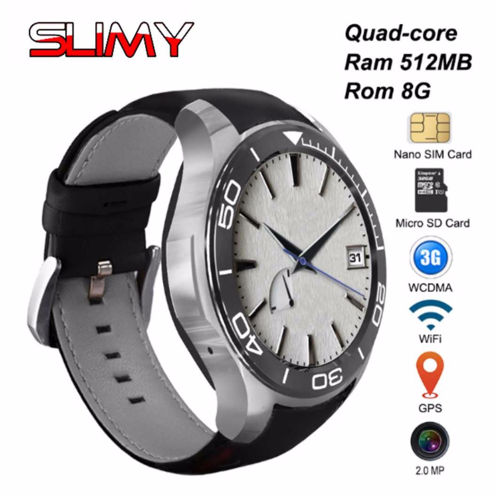 Slimy S11 KW88 Bluetooth 3G Wifi Smart Watch Android 5.1 OS Camera 2.0 Mega Pixel Smartwatch Support Nano SIM Card GPS children s smart watch with gps camera pedometer sos emergency wristwatch sim card smartwatch for ios android support english e