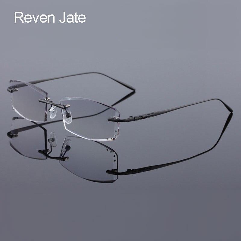 b18fc742215 Reven Jate 65072 Titanium Rimless Diamond Cutting Glasses Frame Optical  Prescription Eyeglasses Men Eyewear Fashion