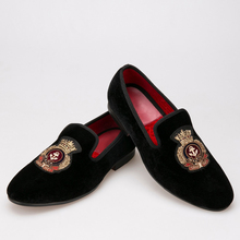 New style Velvet men shoes with Hand stitch Bullion embroidery Loafers Size US 5-17 Free shipping